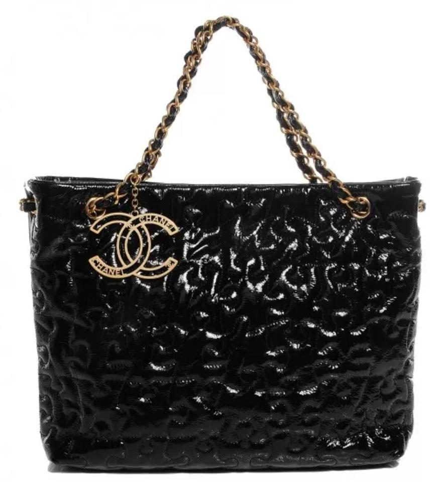 059f516c035f Chanel Puzzle-piece Shape Classic Cc Logo Grand Shopping Gst Tote Shop Black  Gold Patent Leather Shoulder Bag