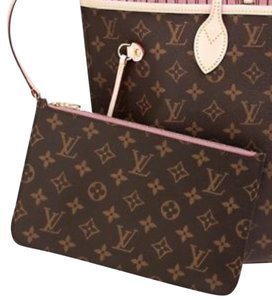 Louis Vuitton Neverfull Mm Pochette Wristlet Rose Ballerine Pink Clutch