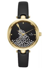 Kate Spade Kate Spade New York Holland Gold Black Leather Strap Women's Watch