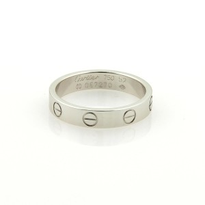 Cartier Cartier Mini Love 18k White Gold 3.5mm Band Ring Size EU 52-US 6