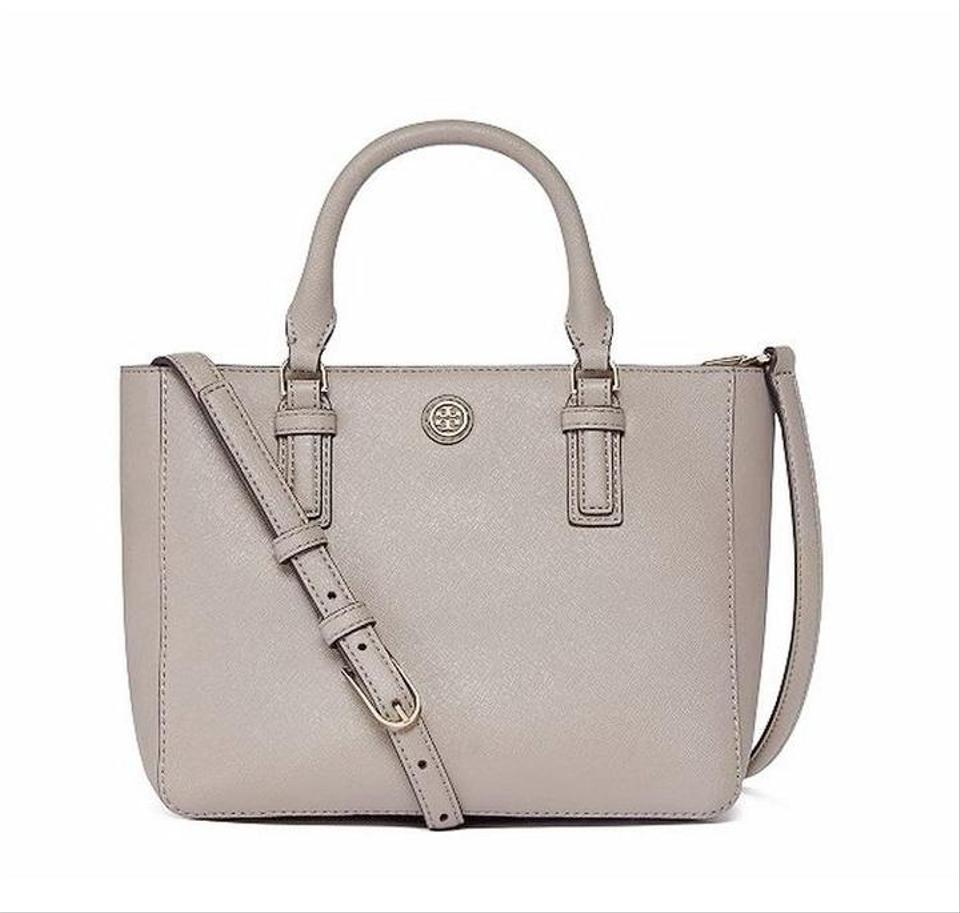 1d614330042e Tory Burch Robinson Mini Square Gray Saffiano Leather Tote - Tradesy