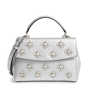 Michael Kors Metallic Leather Ava Jeweled New With Tags Satchel in Silver