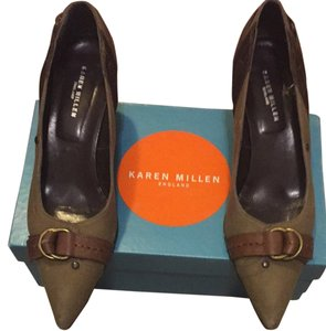 Karen Millen Army Green/brown Pumps
