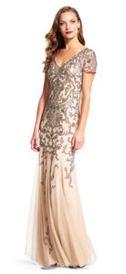 Adrianna Papell Beaded Gown Short Sleeve Evening Bridesmaid Dress