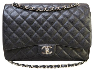 Chanel Caviar Maxi Double Flap Silver-tone Shoulder Bag
