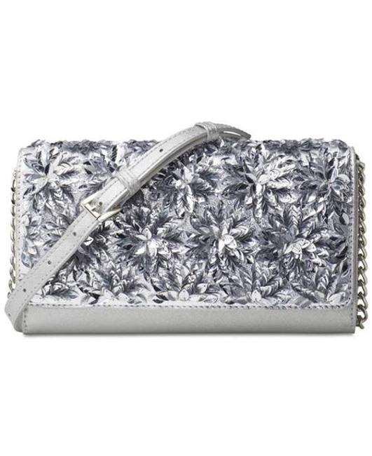 Item - XL Flora Burst Wallet On A Chain Silver Leather Cross Body Bag