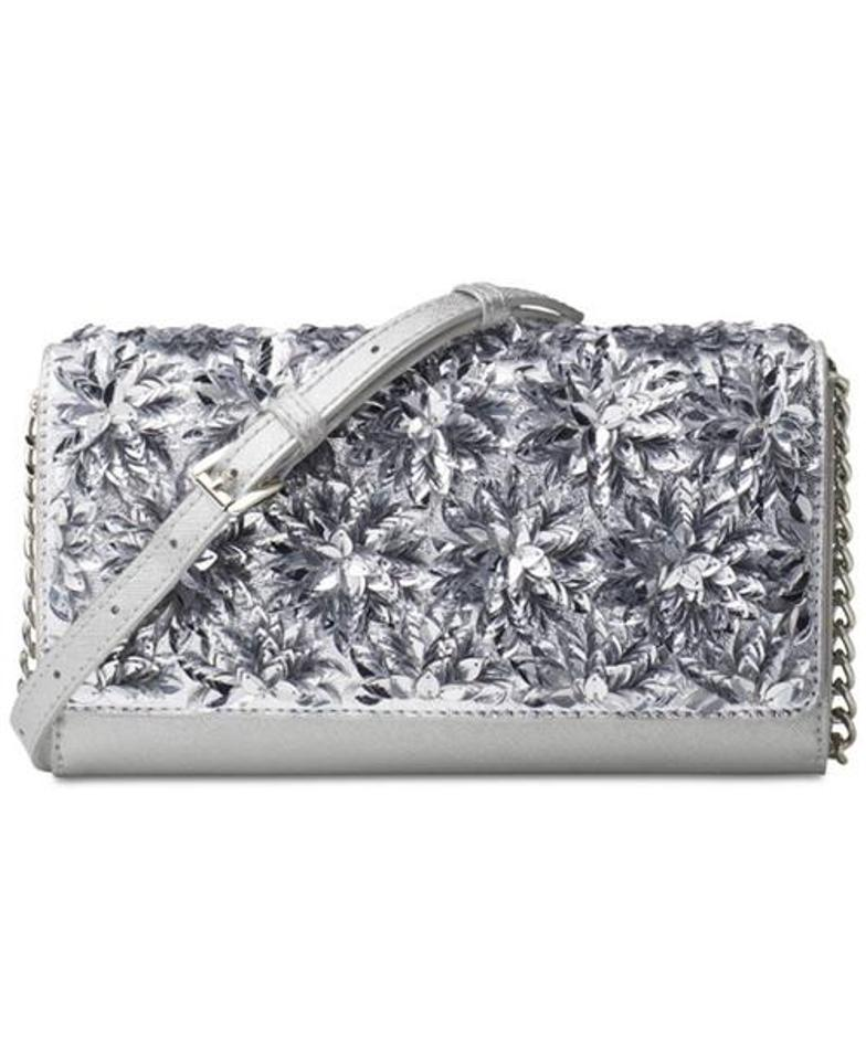 cb0a39b7d871c4 Michael Kors XL Flora Burst Wallet On A Chain Silver Leather Cross ...