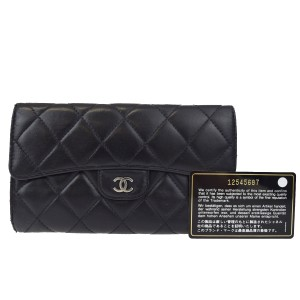 Chanel CHANEL CC Metalasse Quilted Lambskin Black Long Bifold Clutch Wallet