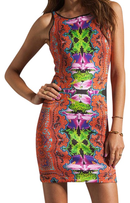 Clover Canyon Orange Orchid Trip Short Night Out Dress Size 0 (XS) Clover Canyon Orange Orchid Trip Short Night Out Dress Size 0 (XS) Image 1