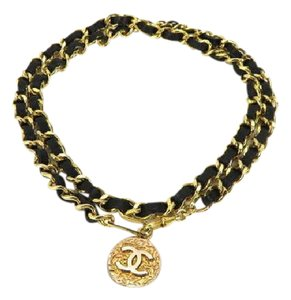 Chanel 1982 Black Interlaced Chain Belt 214652