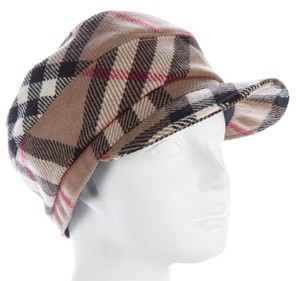 Burberry Beige, red multicolor wool Burberry Nouse Check print cap hat M