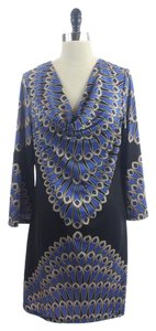 INC International Concepts short dress Black Brown Peacock Pattern Cowl Neck on Tradesy
