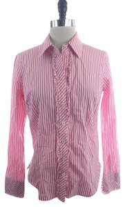 Lilly Pulitzer White Striped Shirt Button Down Shirt Pink