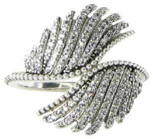PANDORA 190960CZ Ring Sz 5.25 50 Majestic Feathers Cubic Zirconia Sterling