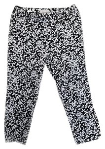 Talbots Flowers Capri/Cropped Pants Black and White