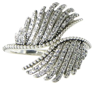 PANDORA 190960CZ Ring Sz 9.25 60 Majestic Feathers Cubic Zirconia Sterling