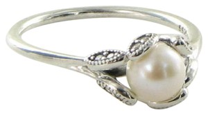 PANDORA 190967P Ring Sz 9.25 60 Luminous Leaves Pearl Cubic Zirconia Sterling