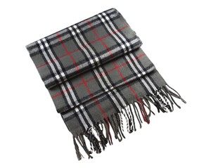 Burberry BURBERRY Heritage Scarf in 100% Lambswool Gray Check
