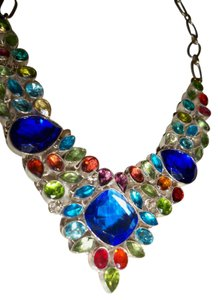 Silver Co Lab Created Sapphires, Multi Gemstones Silver Statement Necklace
