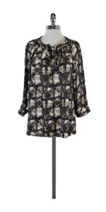BCBGMAXAZRIA Grey Tan Print Silk Top