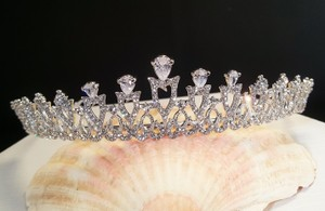 Radiant Cz Wedding Prom Sweet 16 Silver Plated Tiara T-021