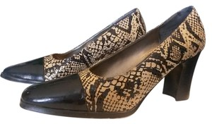 PAZZO Vintage Leather Snakeskin Patent Black, Multi Pumps