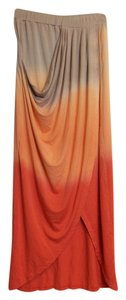 Green Dragon Ombre Faded Hi Lo Skirt Orange