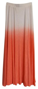 Green Dragon Ombre Faded Soft Circle Maxi Skirt Orange