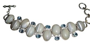 Silver Co Cat's Eye Swiss Blue Topaz Silver Bracelet