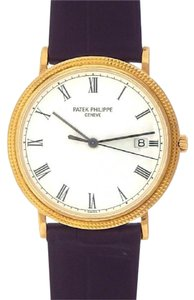 Patek Philippe Patek Philippe Calatrava 3944 18k Yellow Gold Leather Quartz White Men