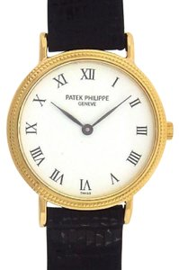 Patek Philippe Patek Philippe Caltrava 4819 18K Yellow Gold Black Leather White