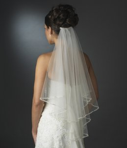 Elegance By Carbonneau Ivory Two Layer Beaded Elbow Wedding Veil