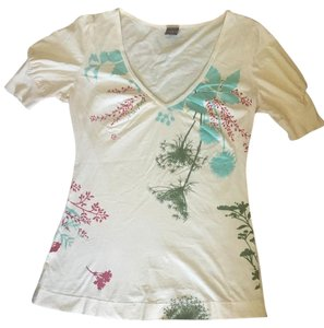Language Anthropologie Fancy Floral T Shirt Cream
