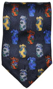 Valentino Valentino Navy Blue Colorful Jar Pattern All Silk Designer Necktie Tie Made In Italy Authentic