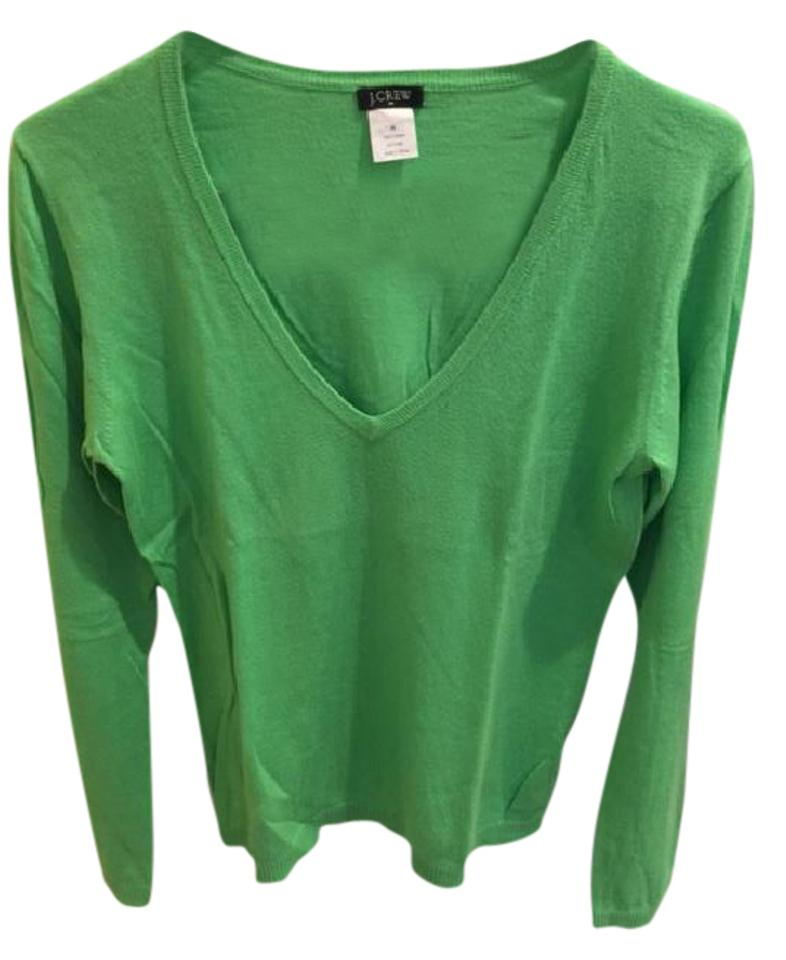 1d1a436a7a J.Crew Cotton V Neck Kelly Green Sweater