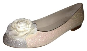 Chanel Ballerina Camellia Glitter Light Beige/Grey Flats