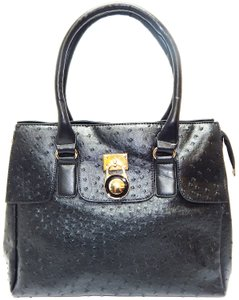 Vecceli Italy Faux Leather Satchel Handbag Ostrich Leather Tote in BLACK