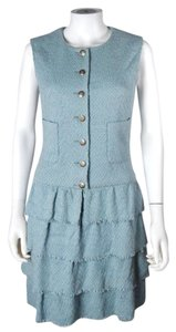 Chanel short dress Blue Tweed Sleeveless Ruffle Tiered Silver on Tradesy