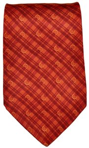Lancel Lancel Paris Orange Crosshatch Buckles Pattern All Silk Designer Necktie Tie Made In Italy Authentic