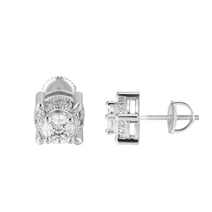 Other Screw Back Earrings Marquise Cut Solitaire Simulated Diamonds Silver