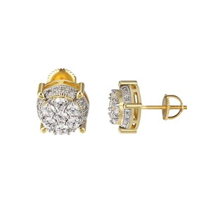 Other Solitaire Round Cut Earrings 14k Gold Finish Prong Set Screw Back 11mm
