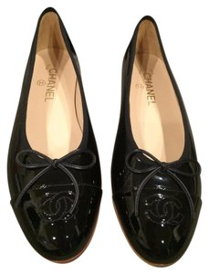 Chanel Ballerina Crystal Bow Fabric Black Flats