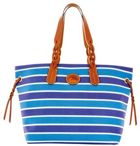 Dooney & Bourke & Nylon Leather Tote in NAVY / WHITE
