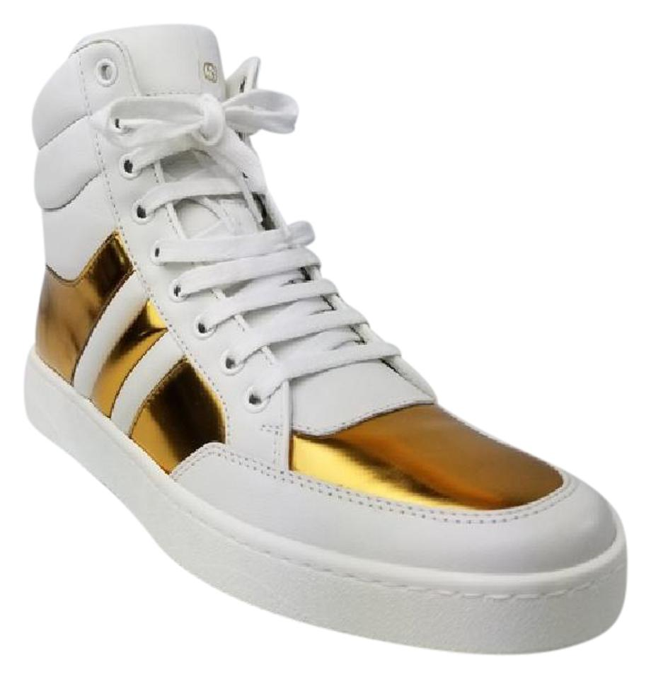 Gucci White And Gold High Top Leather Sneakers Size Eu 38