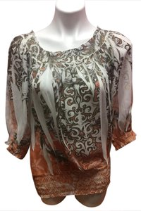 Cato 3/4 Sleeve Casual Top Orange/Brown/White