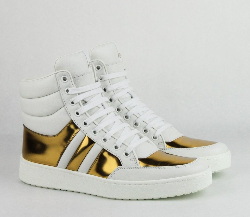 8249153cfe7 Gucci White Gold Leather Hi Top Sneaker 41g   11.5 370504 9068 Sneakers  Size EU 41 (Approx. US 11) Wide (C
