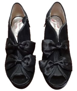 Poetic License Suede Peep Toe Peep Toe Bow Bow Bows Bow Peep Toe Black Boots