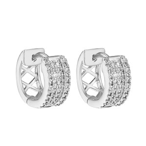 Other Hoop Huggie Earrings Silver Tone Iced Out Simulated Diamonds Unisex