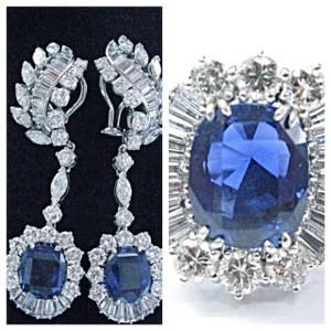 Blue Platinum Cushion Cut Burma/Madagascar Sapphire Diamond Earrings Ring Jewelry Set