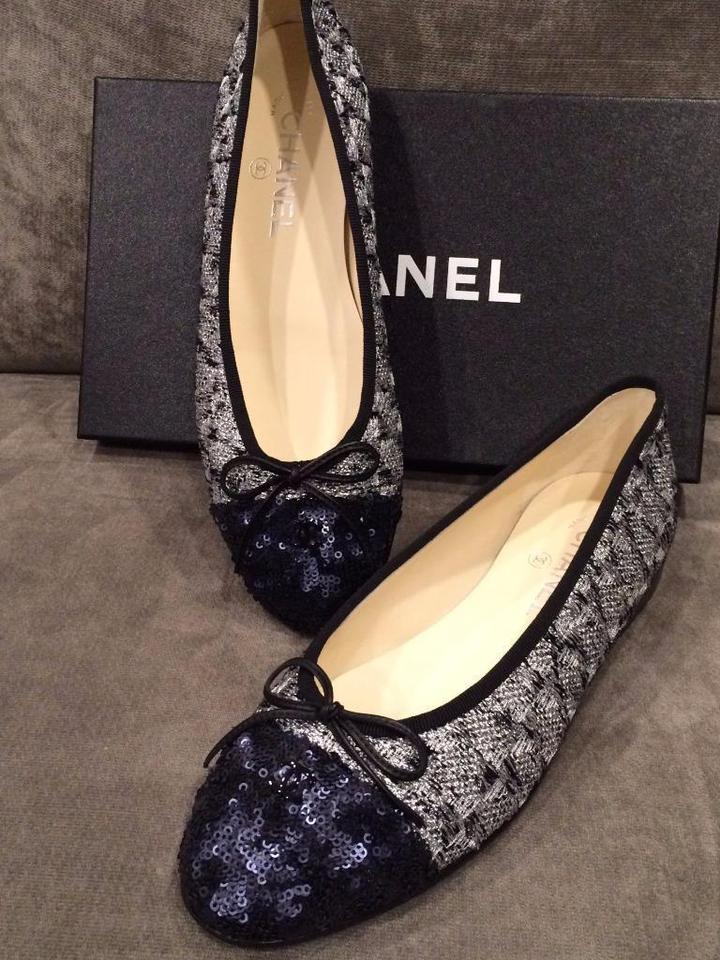 eee7792ed23 Chanel Navy Blue Silver Black 14p Tweed Sequin Cap Toe Ballerina ...